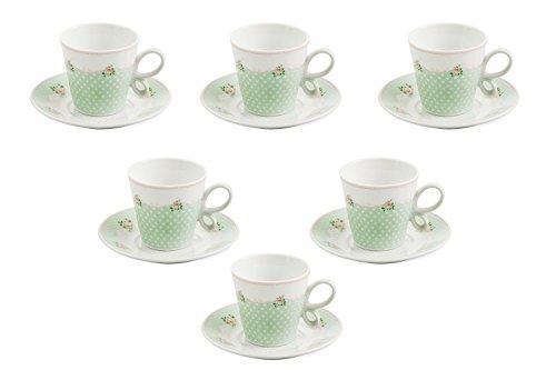 Villa d'Este Home Tivoli Fleurette Set di 6 Tazzine da Caffè, Porcellana, Bianco