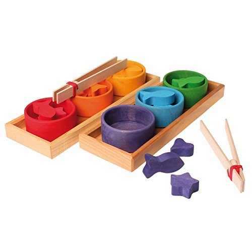 Grimm's Rainbow Bowls Shape & Color Sorting Game/Activity Set with Grabbing Tongs - 1