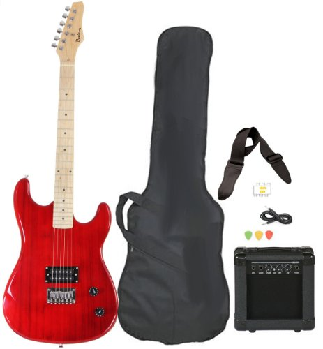 Full Size Red Electric Guitar with Amp, Case and Accessories Pack Beginner Starter Package