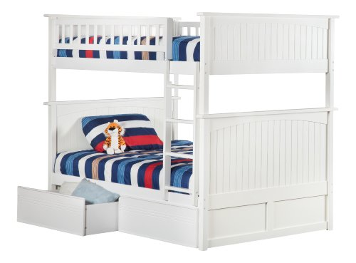 White Bunk Bed Twin Over Full 983 front