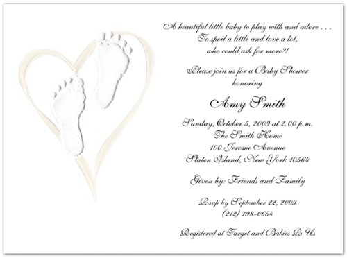 Embossed Pearl Heart & Feet Baby Shower Invitations - Set of 20