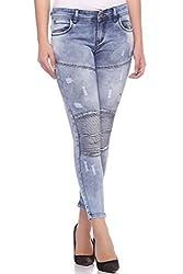 Fasnoya Women's Patched Up Skinny Fit Jeans