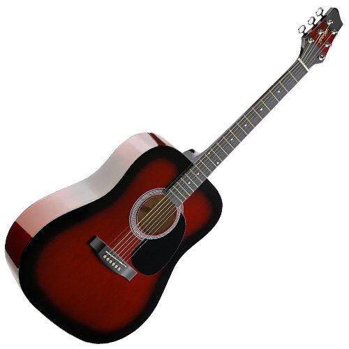 Stagg SW201RDS Guitare acoustique Dreadnought Redburst