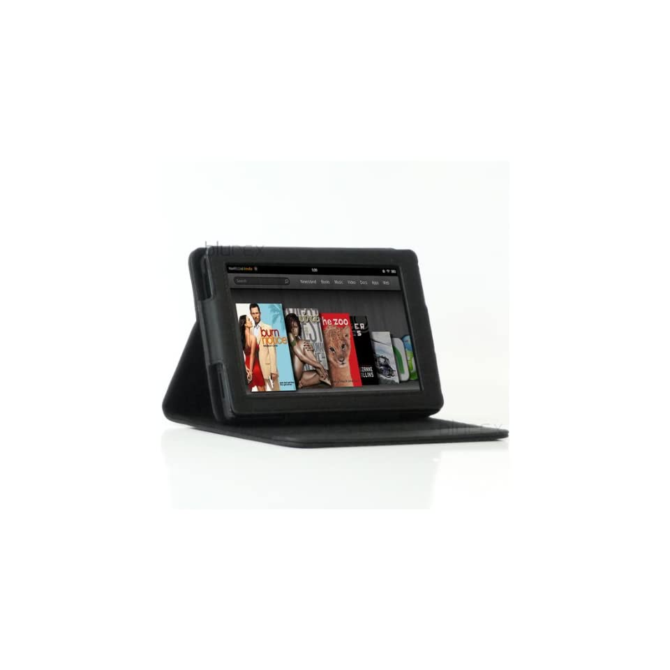 Kindle Fire Leather folio Case With Built in Multi angle Stand by BLUREX   Black