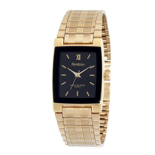 Armitron Men's 201576 Gold-Tone Black Dial Dress Watch