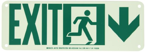 """Brady 81792 14"""" Width X 5"""" Height B-552 High Intensity Aluminum, Glow-In-The Dark Safety Guidance Sign, Legend """"Exit"""" With Running Man And Down Arrow"""
