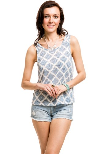 Diamond Back Latticed Top In Blue/White