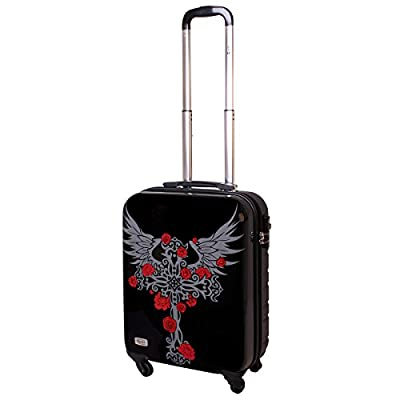 Hard Sided Suitcase TSA Carry On Luggage 30 Liter Heavy Metal Gothic Cross 817