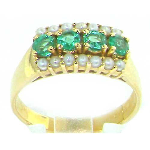 Luxury Women's 9K Yellow Gold Emerald & Pearl Vintage Style Ring