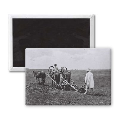Farmer ploughing - 3x2 inch Fridge Magnet - large magnetic button - Magnet