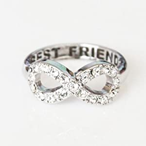 SJ Style Shiny Best Friends Engraved Infinity Ring with Cubic Detail - Silver