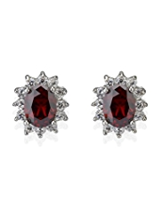M&S Collection Platinum Plated Diamanté Regal Stud Earrings