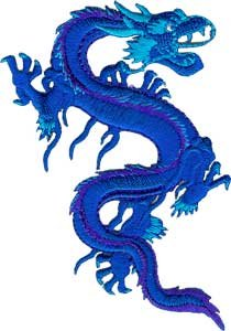 Dragons - Chinese Fire Breathing Royal Blue Mystical Dragon Logo Patch