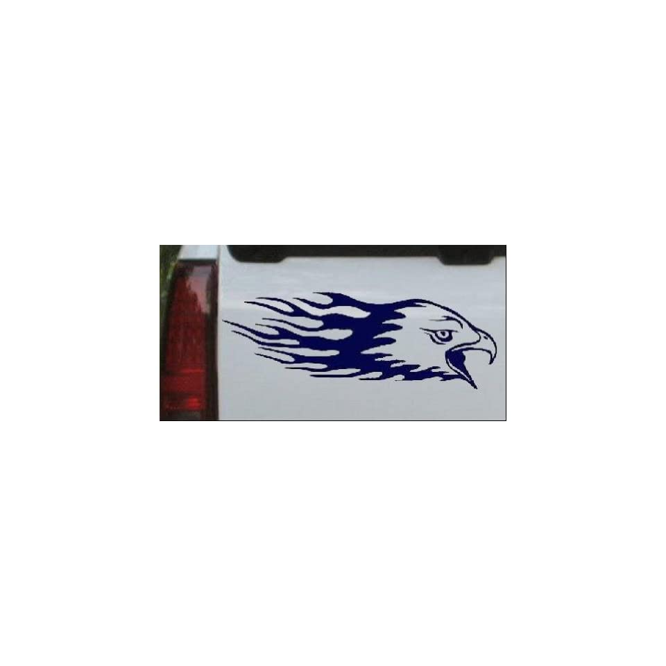 Flaming Eagle Head Car Window Wall Laptop Decal Sticker    Navy 58in X 20.5in