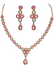 Gehna Pearl, Emerald & Ruby Round Shape Stone Studded Necklace & Earring Set