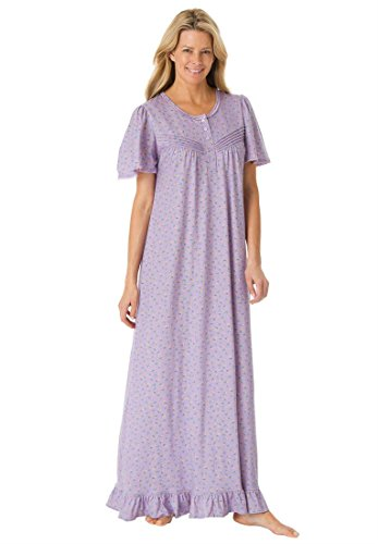 Dreams & Co Women'S Plus Size Long Cotton Knit Gown Lavender,5X
