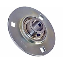 "SBPF204-12 Flanged Mounted Bearing, 3 Bolt, 3/4"" Inside Diameter, Set screw Lock, Steel, Inch"