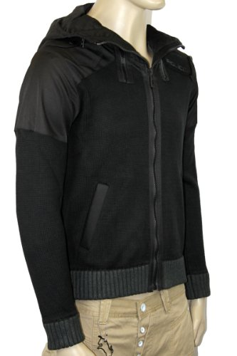 New Mens Black Police 883 Anzani Hooded Knitted Winter Top Jacket Size S
