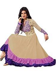 Isha Enterprise Women's 60gm Georgette Anarkali Suits(KFS390-2129_Cream)