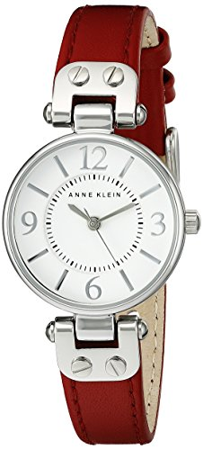 anne-klein-womens-109443wtrd-silver-tone-white-dial-and-red-leather-strap-watch