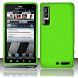 NEON GREEN Rubber Touch Snap-On Phone Protector Hard Cover Case for Motorola Droid 3 XT862 / Milestone 3