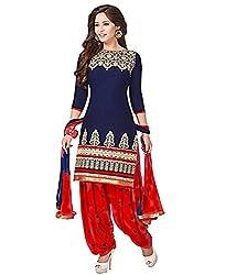 Diya Women's Blue Cotton Designer Dress Materials [DS_JCN1039_B]