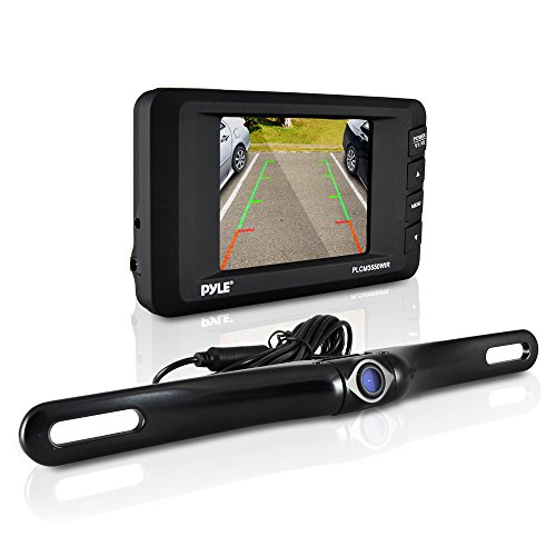 """Pyle Wireless Backup Camera Kit  - Rear View Camera and 3.5"""" Dashboard Monitor - Features a License Plate Mounted Weatherproof Aluminum Housing with Night Vision and Distance Scale Lines For Parking C"""
