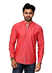 Rafters red full sleeves men's slim fit casual shirt