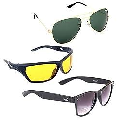 Elligator Stylish Aviator Gold Green And Nightvision Yellow With Black Wayfarer Sunglasses Combo ( Set of 3 )