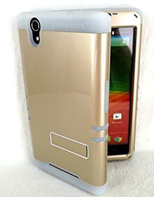 ZTE ZMAX Z970 Cover Case Gold With Glow Shock Resistant Hybrid 3 Piece by Phone Art