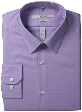 Perry Ellis Men's Portfolio Two Color Twill Dress Shirt, Violet Tulip, 14.5 32/33