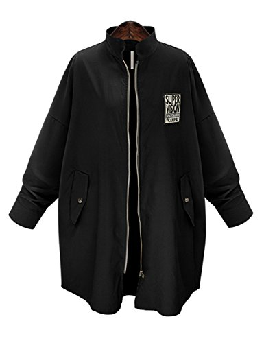bellylady-womens-zip-front-stand-collar-patch-coat-with-pockets-black-3xl