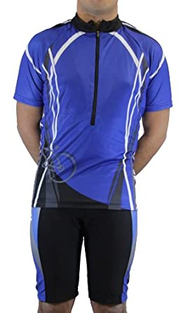 Men's Sublimated Print Race cut Short-Sleeve Biking Cycling Jersey (Blue Design 2, Small)