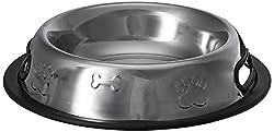 Choostix Dog Embossed Plain Shape Steel Feeding Bowl - Medium