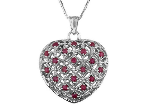 1 Carat Ruby Sterling Silver Heart Pendant with Chain
