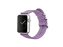 Monowear Purple Nylon band with easy slide Matte Silver adapter for 38MM Apple Watch SPORT