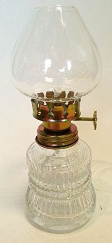 oil-lamp-small-antique-styl-clear-glass-gold-colored-wick-holder-fillable-petroleum-lamp-height-appr