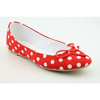 French Follies Womens Polka Dot Flat Red 8.5