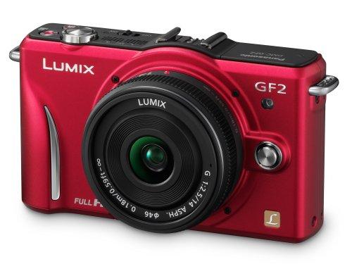 Panasonic Lumix GF2 Digital Camera with 14mm Lens - Red