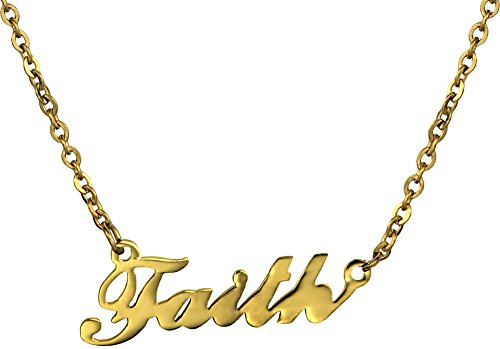 16 Inch 316L Stainless Steel 14K Gold Plated Faith Monogram Pendant Necklace