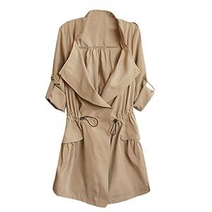 Womens Vintage Drawstring Boho Boyfriend Blazer Jacket Cardigan Coats (L, Khaki)