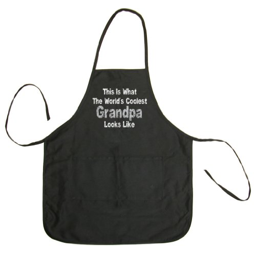 So Relative! - This Is What The World's Coolest Grandpa Looks Like (Grey & White Vintage Distressed) - Men's & Women's BBQ Cooking & Grilling Apron (Black, One Size)