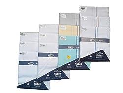 Ritex Light & White Colour 100% Cotton Handkerchiefs for Men- Pack Of 12 Pcs.