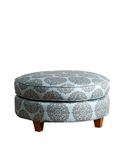 Abbyson Living Rory Round Ottoman, Floral Teal As You See