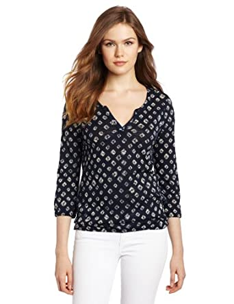 Lucky Brand Women's Shibori Ruby Top,Blue Multi,X-Small