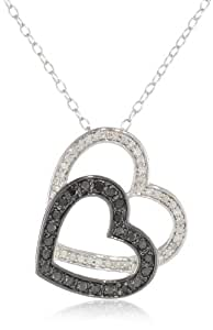 """Sterling Silver Black and White Diamond Heart Pendant Necklace (.33 Cttw, H-I Color, I2-I3 Clarity), 18"""""""