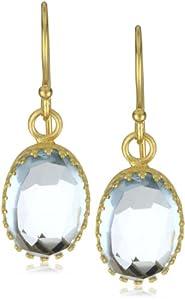 """Kevia """"Rococo"""" Rose Cut Blue Topaz Oval Lace Bezel Drop Earrings"""