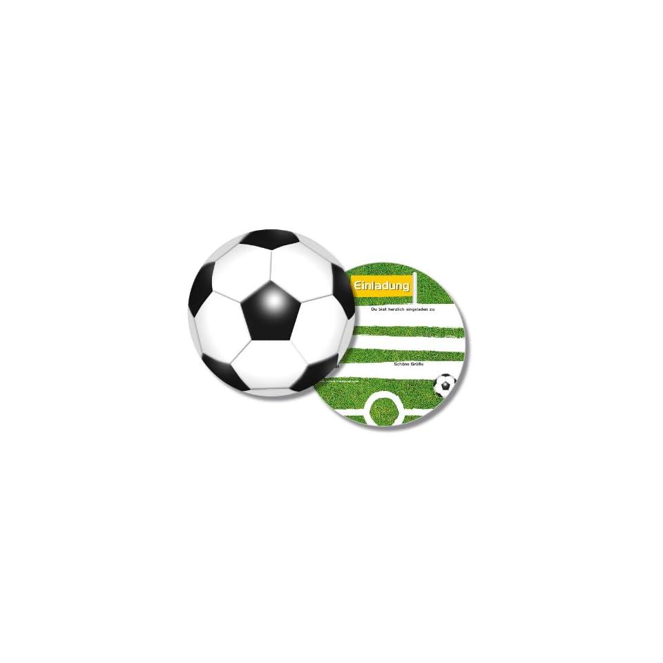 6 Runde Einladungskarten Fussball F R Kindergeburtstag