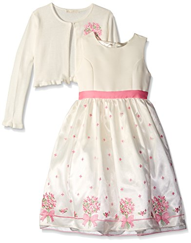 1280001fd9 American Princess Little Girls Embroidered Sweater Dress with Pink Cardi, 3T