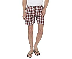 Nick&Jess Maroon Block Checkered 100% Cotton Boxer Shorts(Pack of 1)